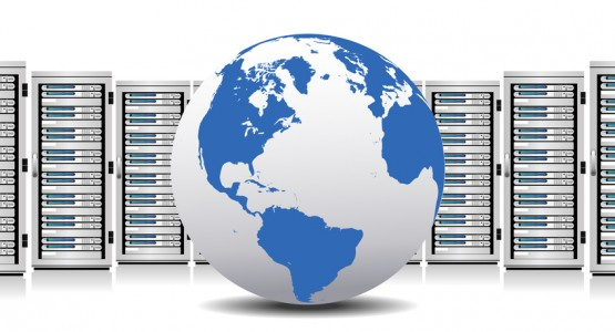 Row of Network Servers with Globe - The base map is from NASA and Hand Drawn using the pen tool for maximum detail